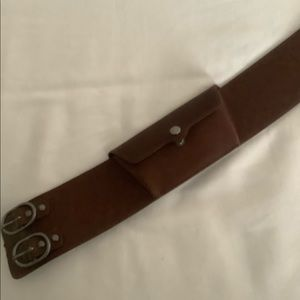 Brown leather belt with pocket